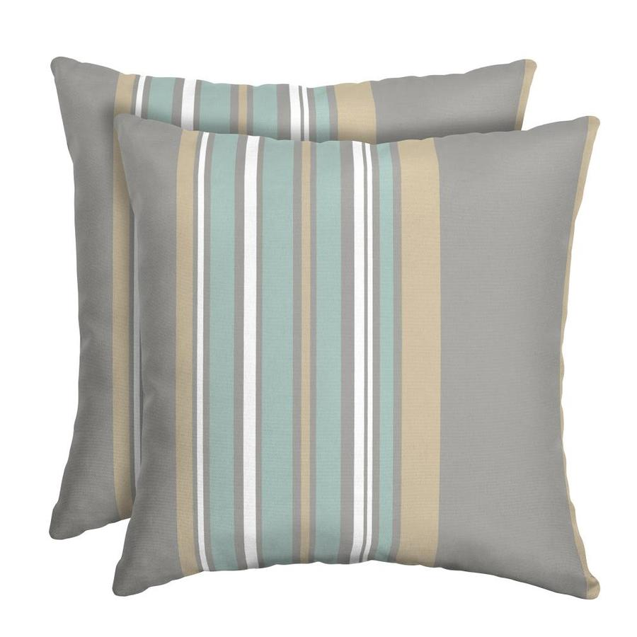 2 Pack Striped Grey Square Throw Pillow In The Outdoor Decorative Pillows Department At Lowes Com