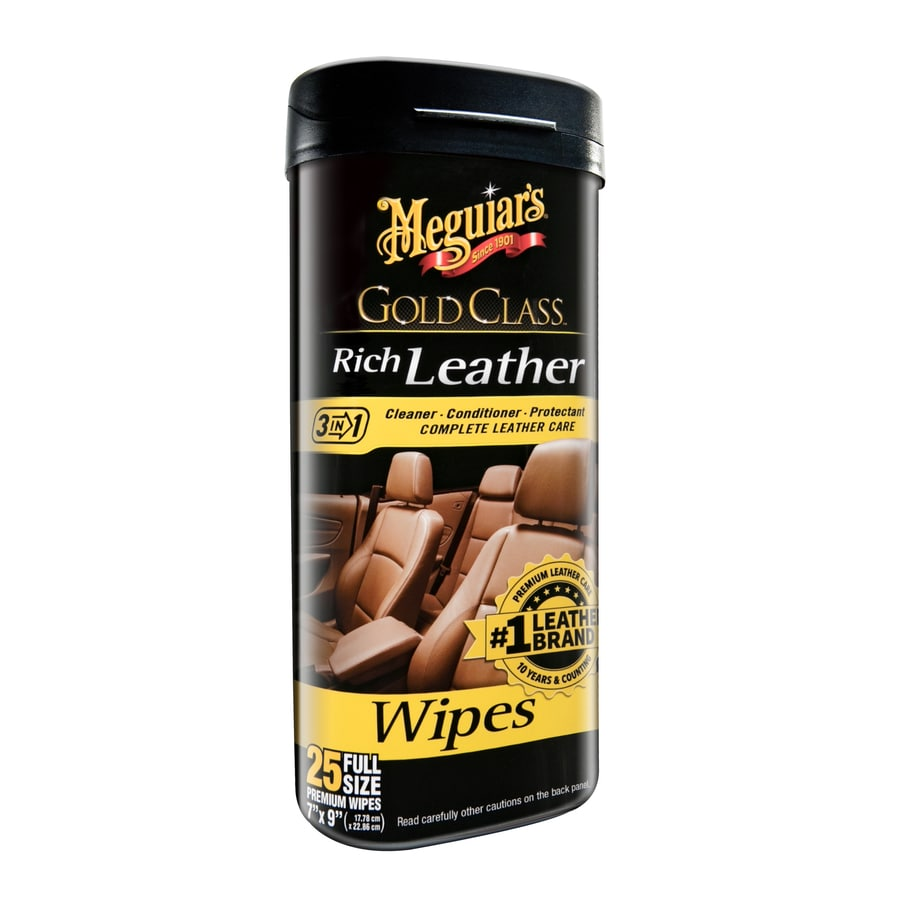 Meguiar's Gold Class Rich Leather Wipes 25-Count Car Interior Cleaner