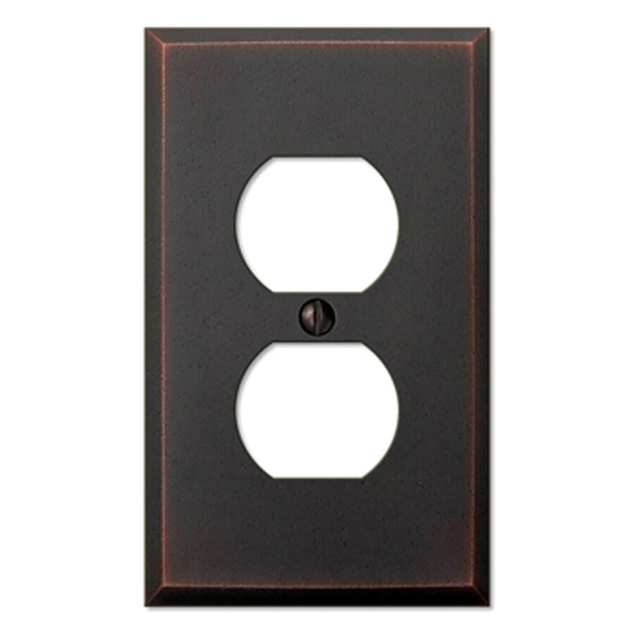 allen + roth 1-Gang Aged Bronze Standard Duplex Receptacle Metal Wall Plate
