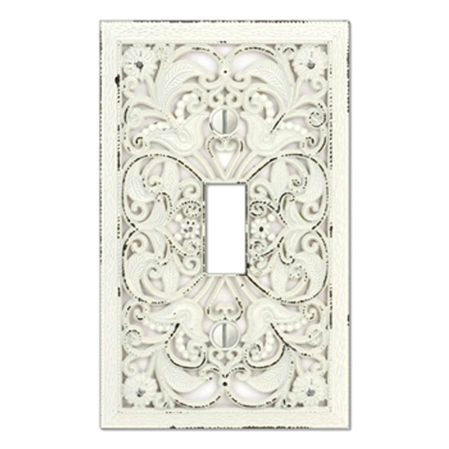 style selections 1gang antique white standard toggle metal wall plate
