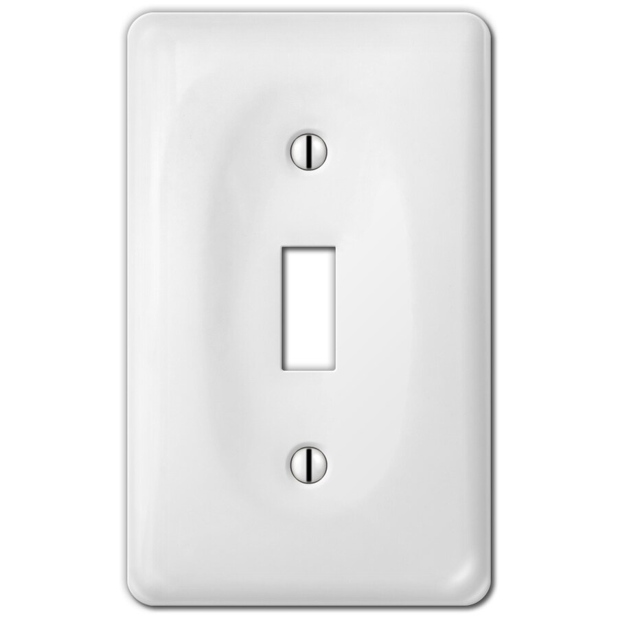 Style Selections Ceramic 1-Gang White Toggle Wall Plate