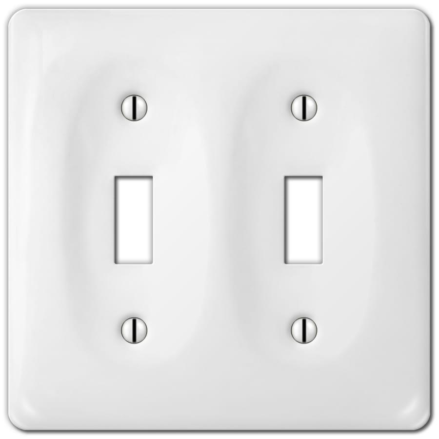 Style Selections Ceramic 2-Gang White Toggle Wall Plate