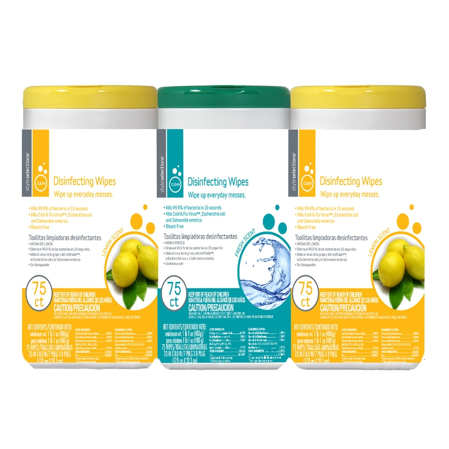 Style Selections Disinfecting Wipes 75-Count 2 Lemon and 1 Fresh Scent All-Purpose Cleaner