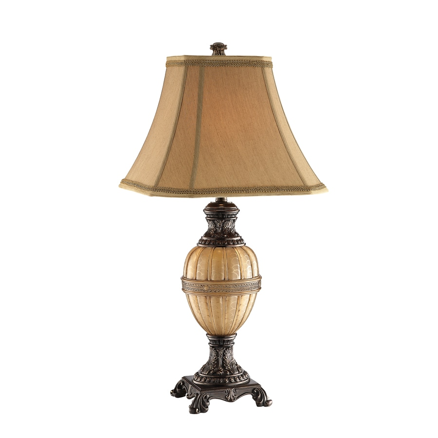 31.5-in Honey Coffee/Gold Electrical Outlet 3-Way Switch Table Lamp with Fabric Shade