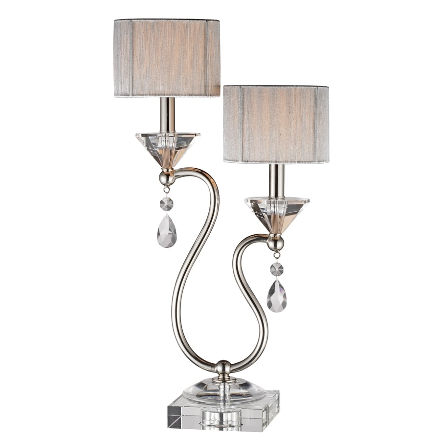 24-in Chrome Metal with Clear Crystal Electrical Outlet Touch Table Lamp with Fabric Shade