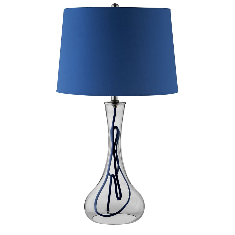 26-in Clear Glass Touch On/Off Indoor Table Lamp with Fabric Shade