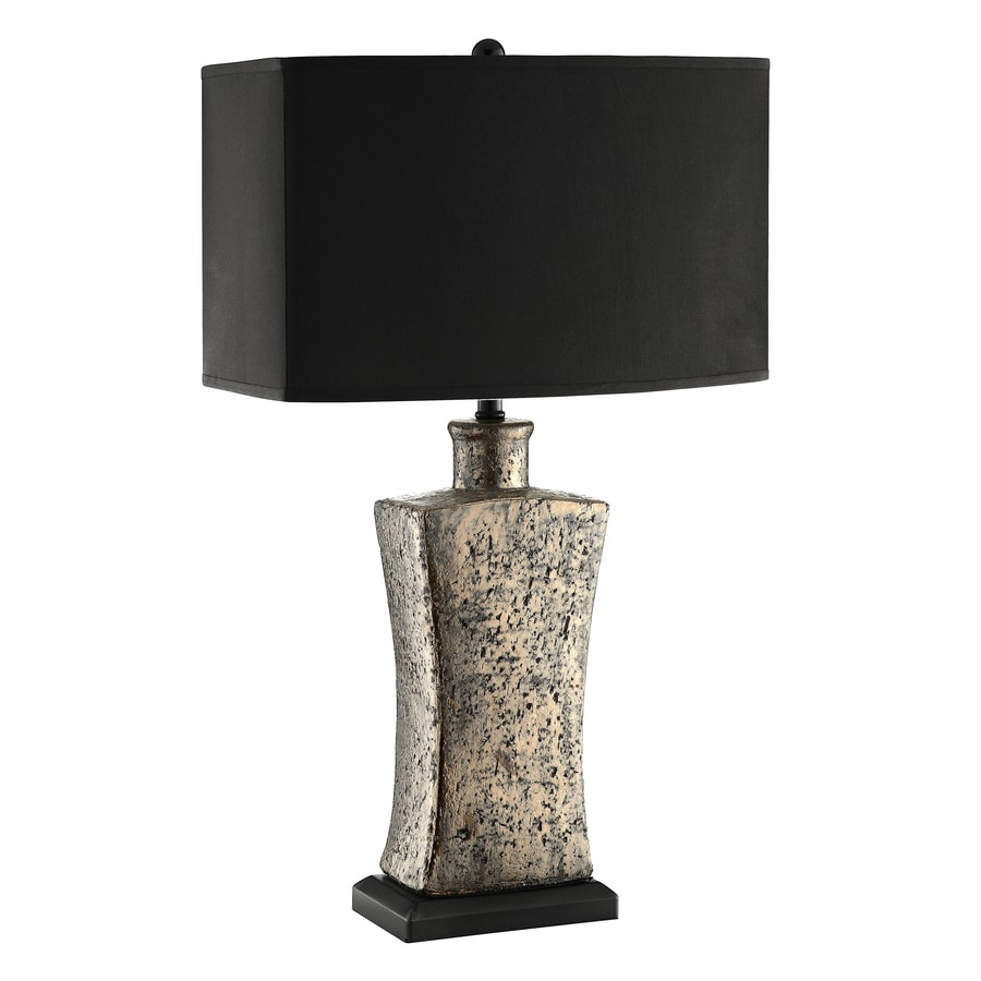 30.5-in Gray Earstone Ceramic Touch On/Off Indoor Table Lamp with Fabric Shade