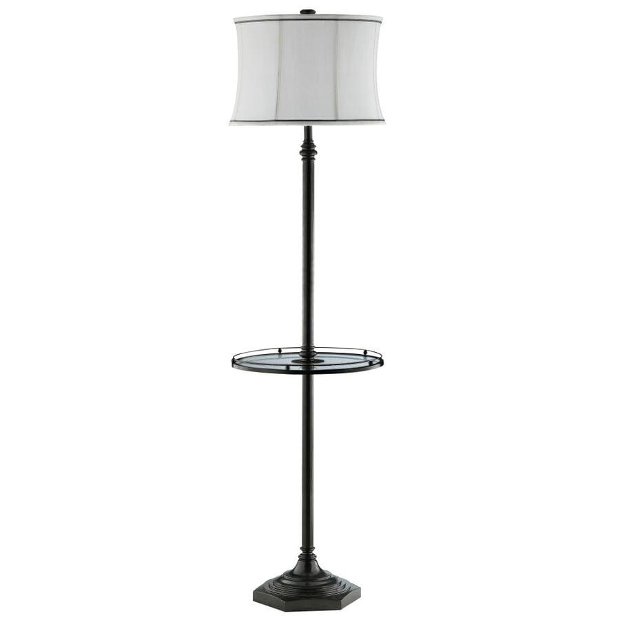 62-in Polished Nickel Electrical Outlet Touch Table Lamp with Fabric Shade