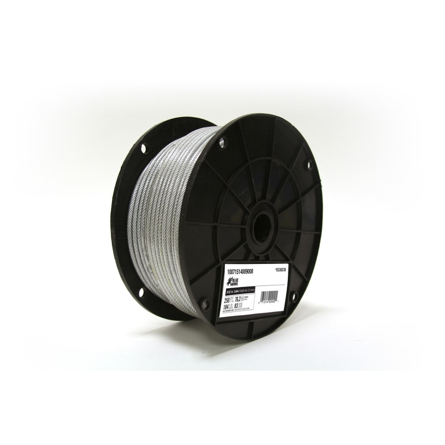 Blue Hawk 1-ft 3/32 Weldless Silver Steel Cable (By-the-Foot)