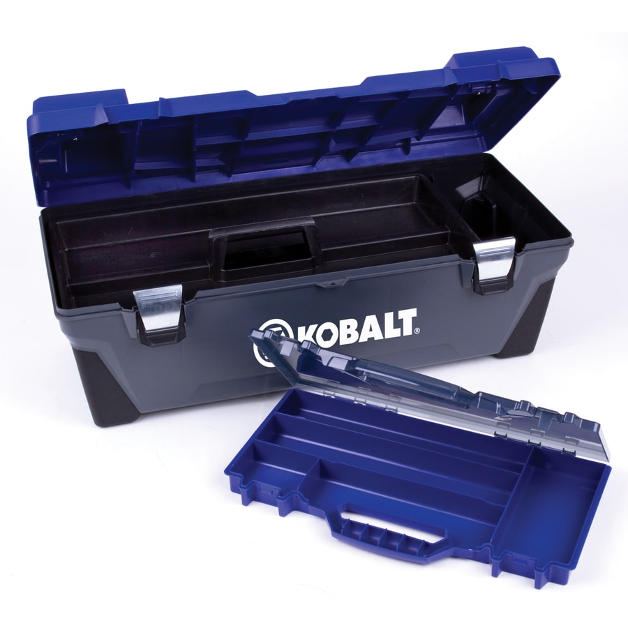 Kobalt 26-in Blue Plastic Lockable Tool Box