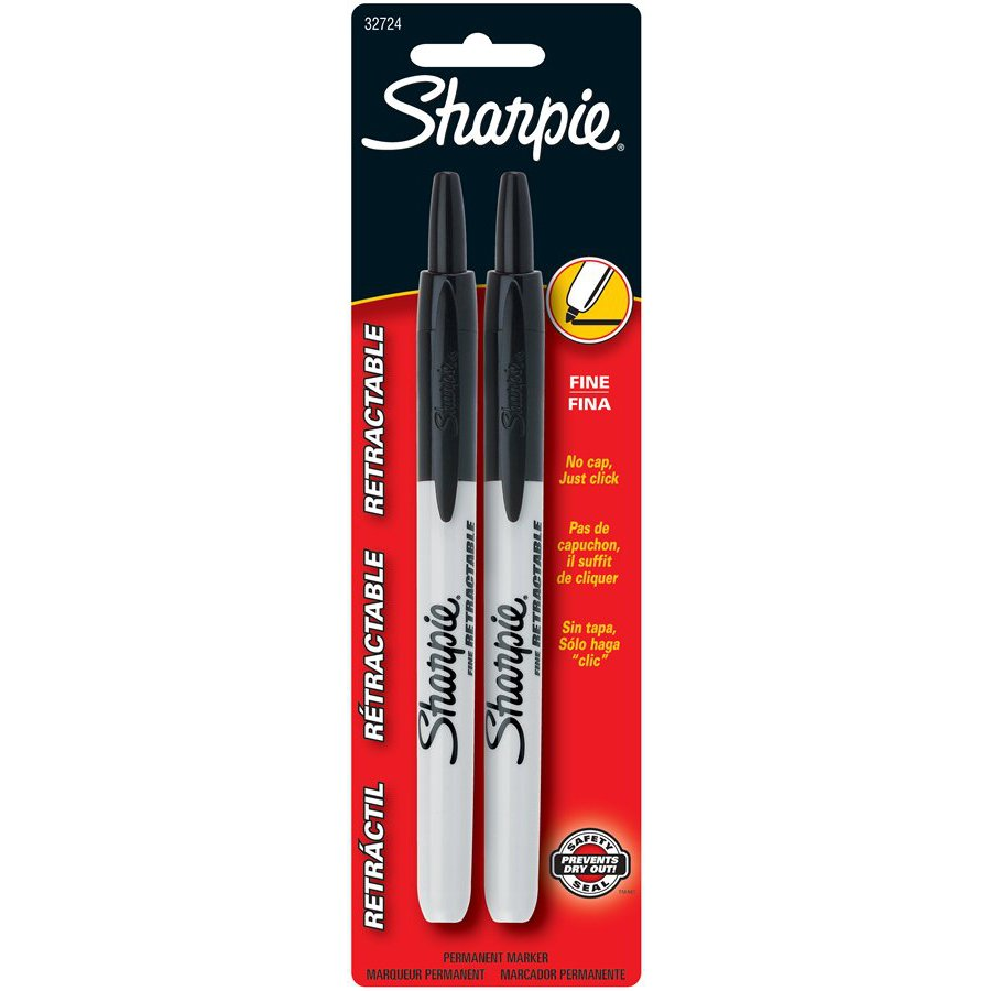 Sharpie 2-Pack Black Retractable Fine Point Permanent Markers