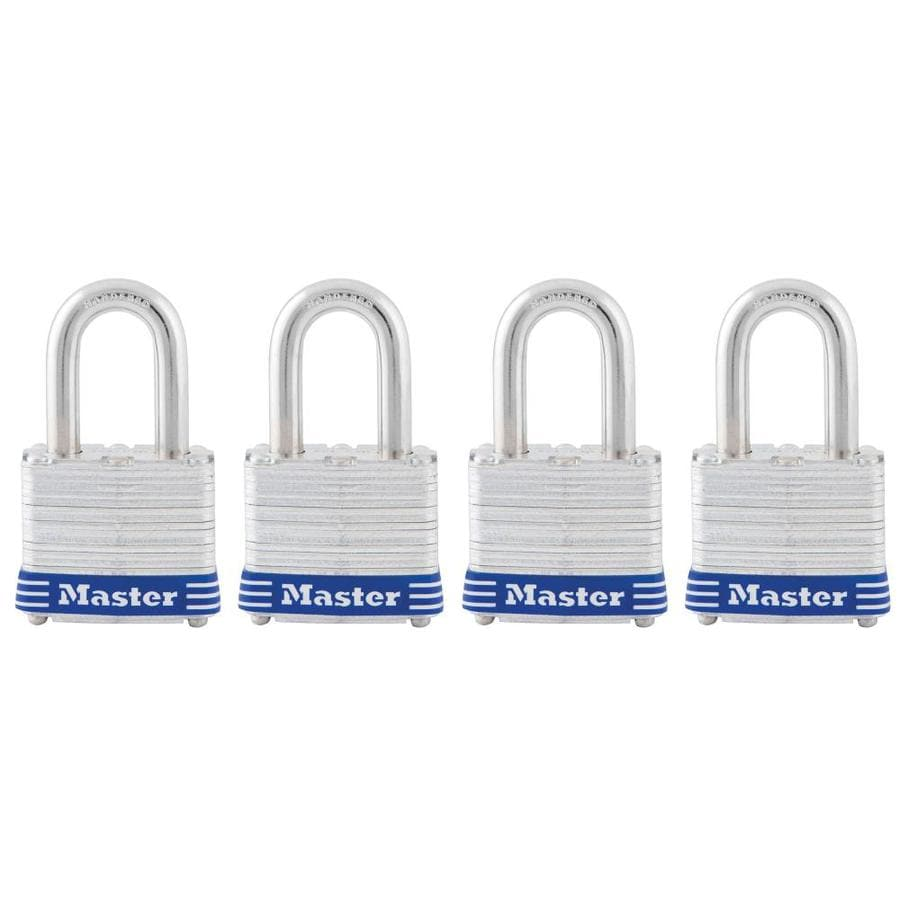 Master Lock 4-Pack 1.642-in Silver with Blue Bumper Steel Shackle Keyed Padlocks