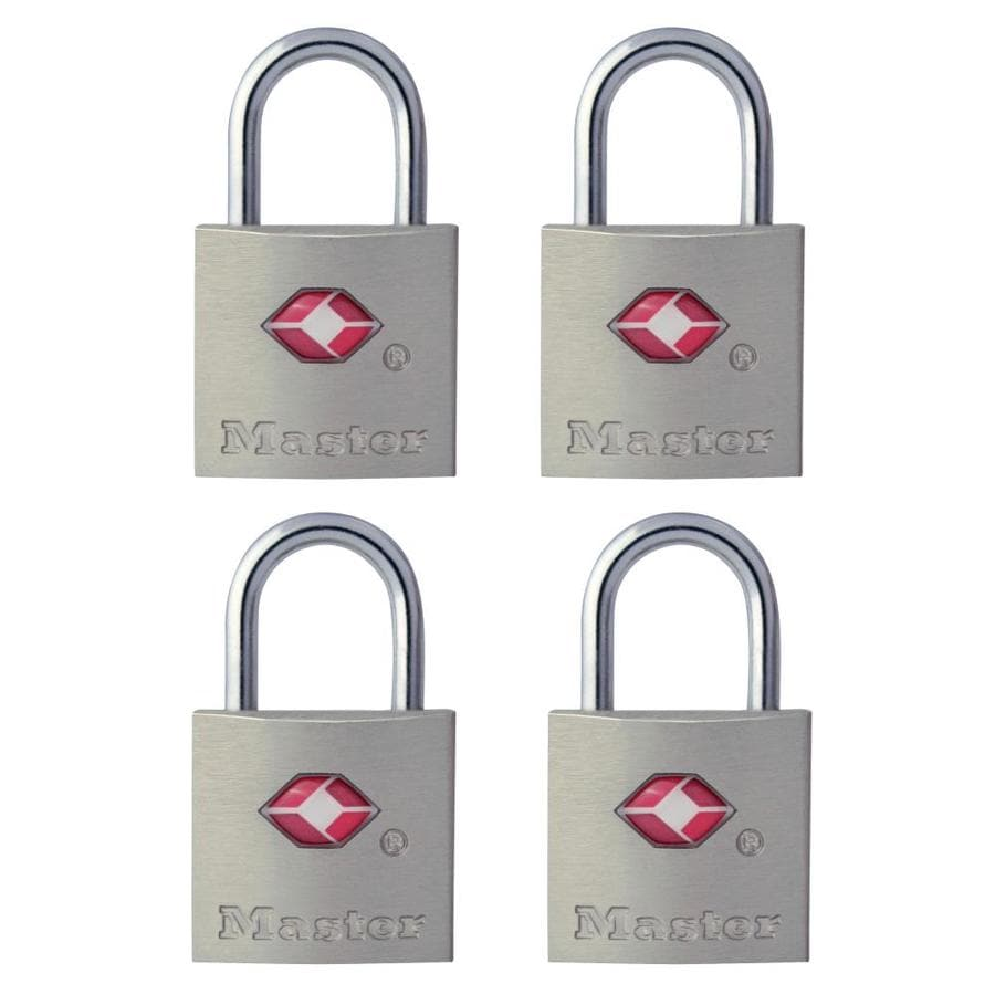 Master Lock 4-Pack 0.875-in Silver Steel Shackle Keyed Padlock TSA Accepted