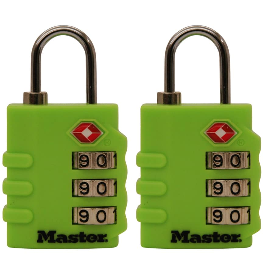 Master Lock 2-Pack 1.375-in Assorted Plastic Shackle Combination Padlock TSA Accepted