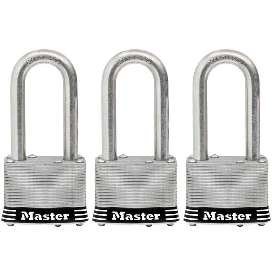 Master Lock 3-Pack 1.785-in Laminated Stainless Steel Shackle Keyed Padlock