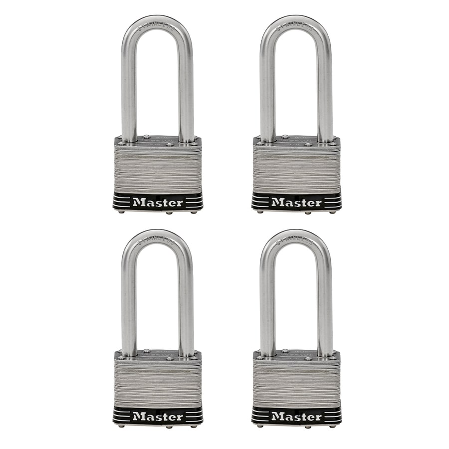 Master Lock 4-Pack 2.078-in Steel Shackle Keyed Padlocks