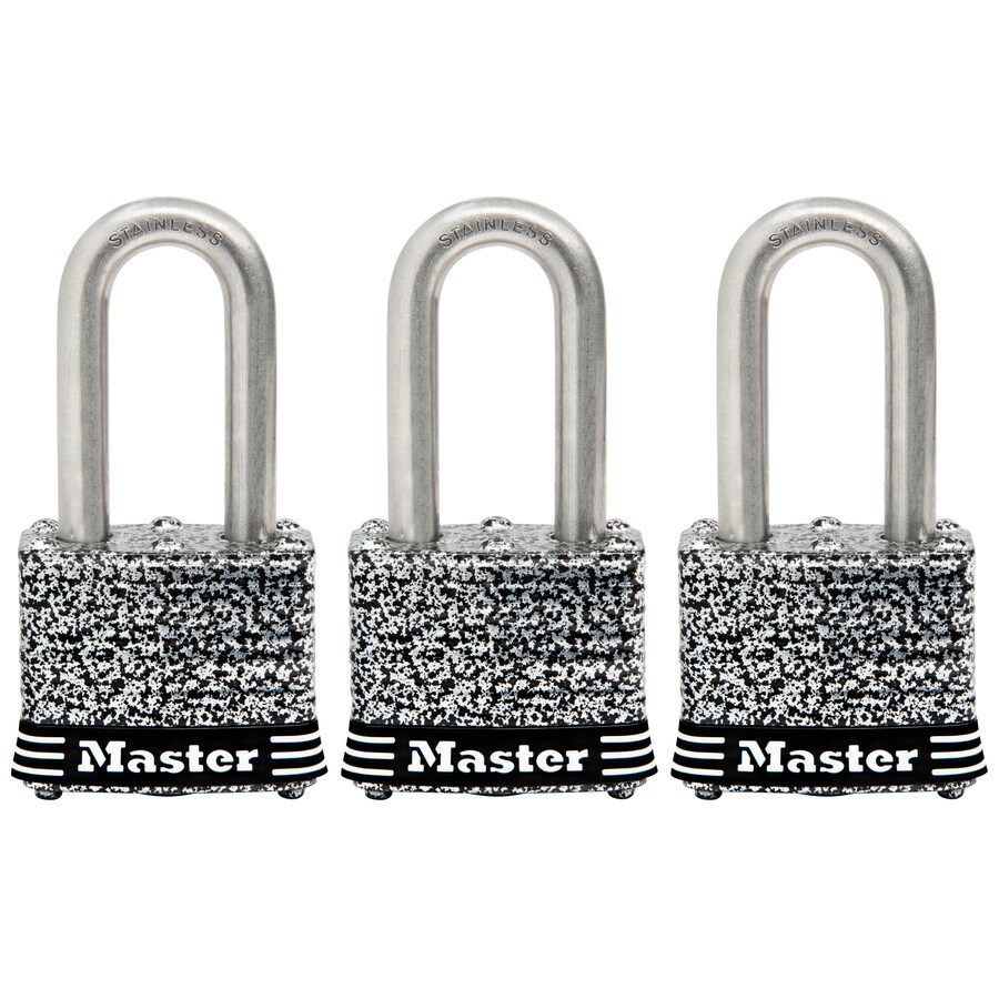 Master Lock 3-Pack 1.642-in Steel Shackle Keyed Padlock