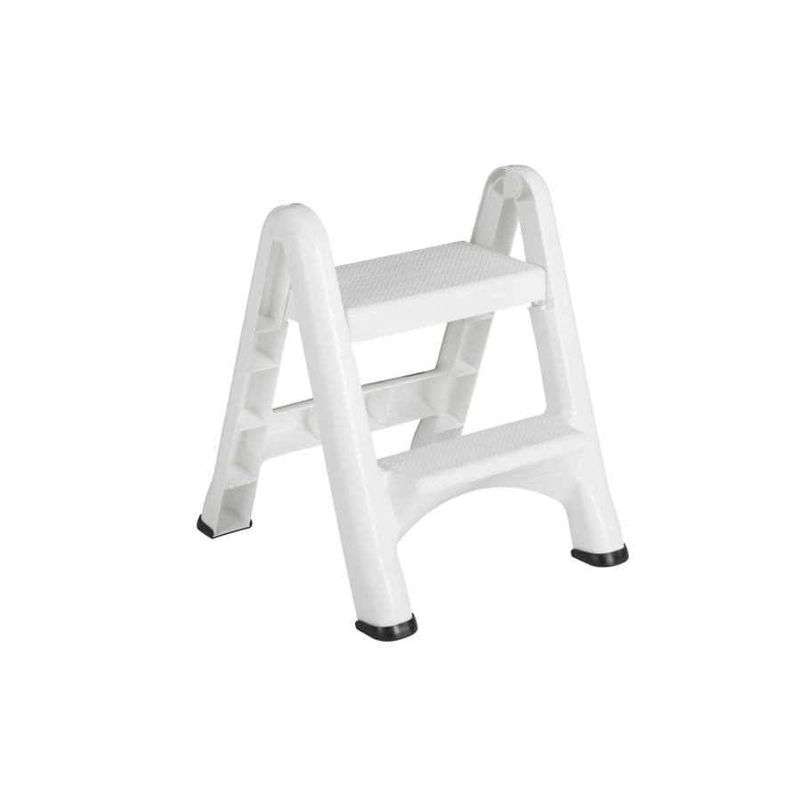 Rubbermaid 2-Step 300-lb Load Capacity White Plastic Step Stool