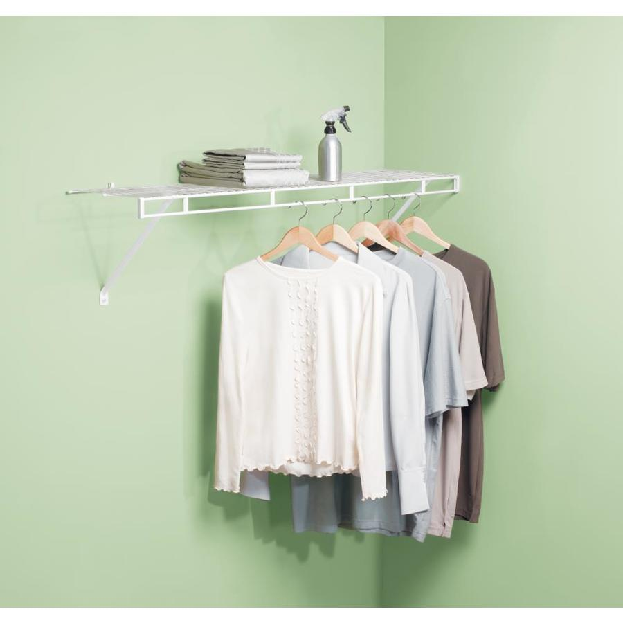 rubbermaid wire closet shelving. Rubbermaid 3-ft W X 12-in D White Fixed Mount Shelving Kit Wire Closet