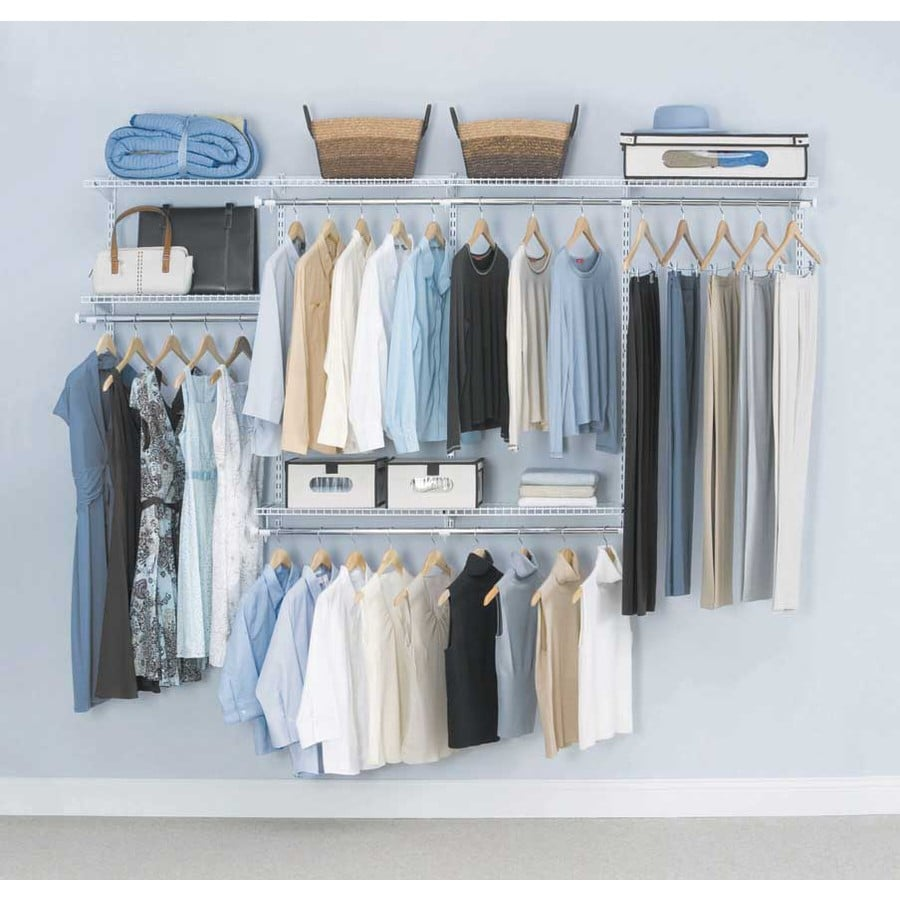 Lowes wire shelving systems for closets - Rubbermaid Homefree Series 4 Ft To 8 Ft White Adjustable Mount Wire Shelving Kits