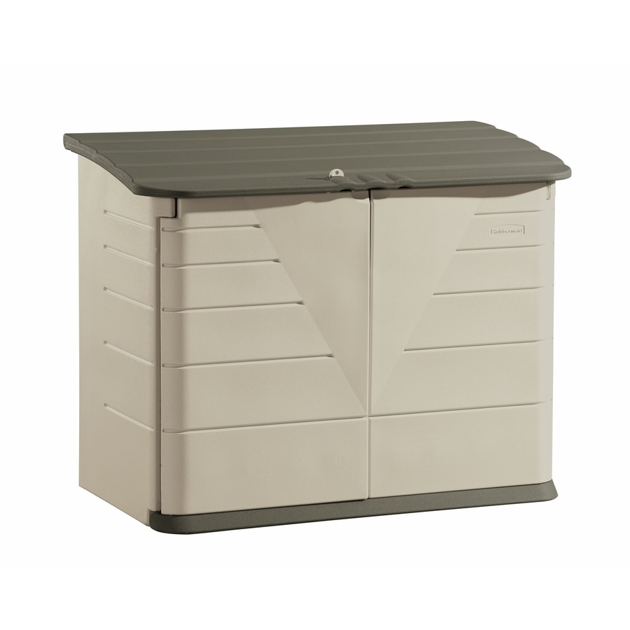 Shop Rubbermaid Olive Sandstone Resin Outdoor Storage Shed
