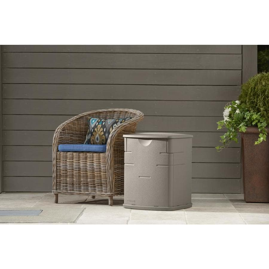 Rubbermaid 17-in L x 18-in W 19-Gallon Sandstone Resin Deck Box