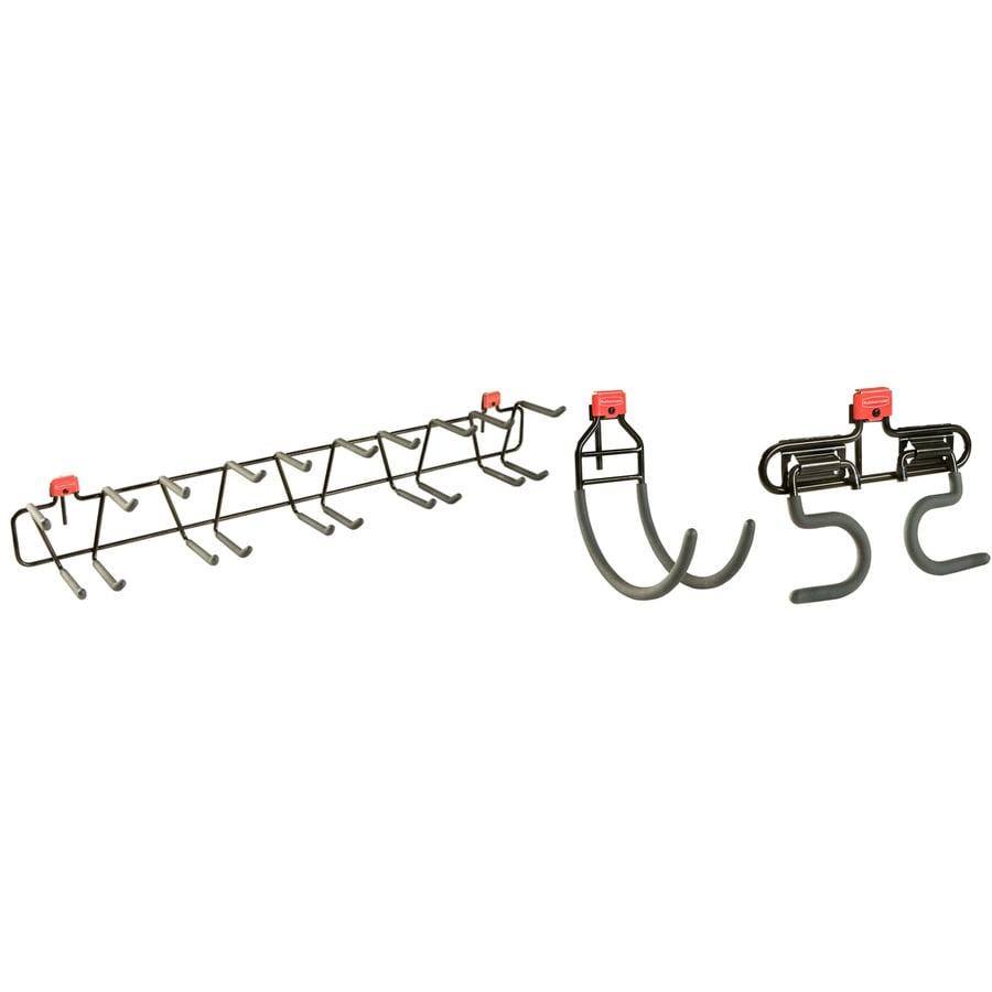 Rubbermaid Black Steel Storage Shed Tool Hanger Rack