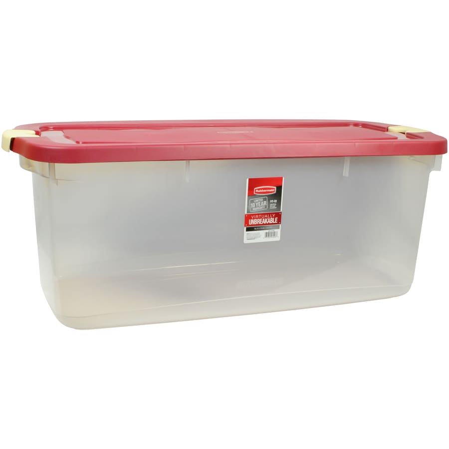 Shop Rubbermaid Roughneck 95-Quart Clear Tote with ...