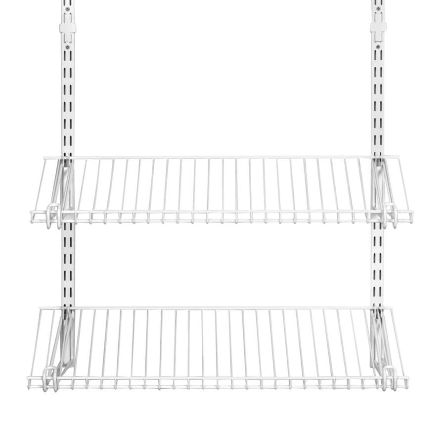 rubbermaid homefree white wire shoe shelf kit at lowes com