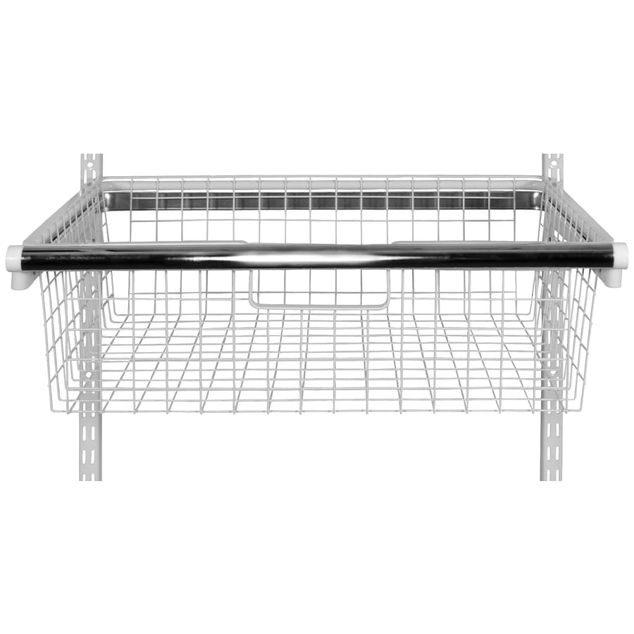 Lowes wire shelving systems for closets - Rubbermaid Homefree White Wire Sliding Basket