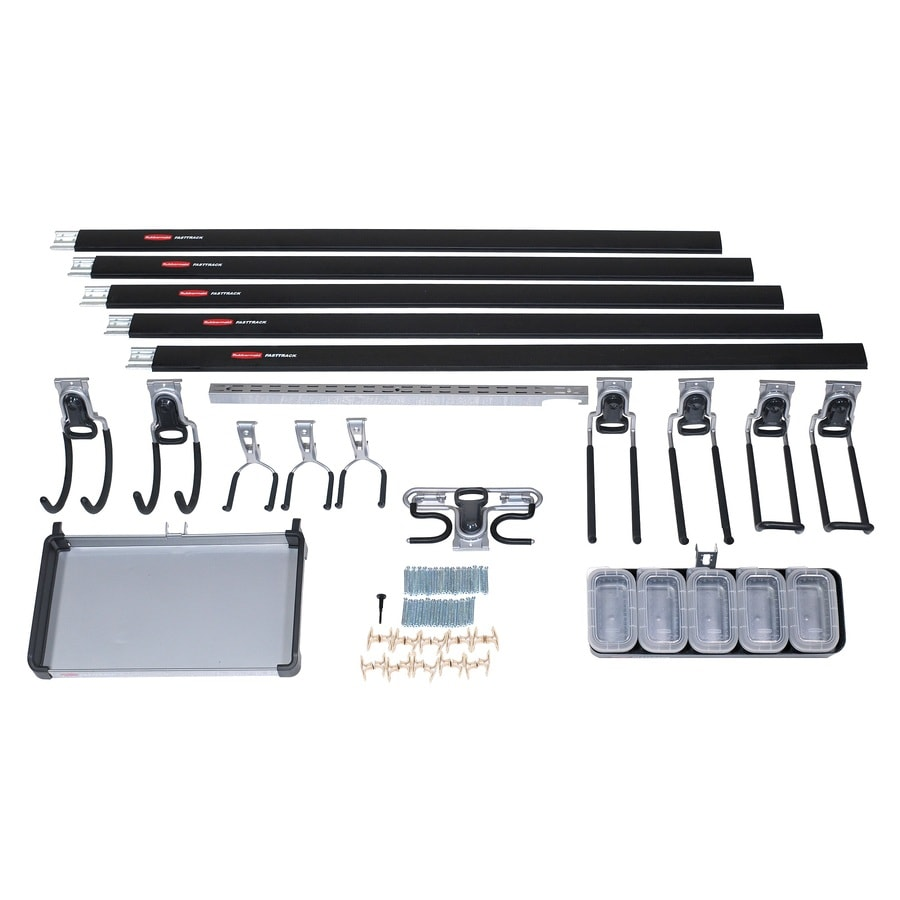 Rubbermaid Fasttrack Garage 18-Piece Black/Silver Steel Storage Rail System