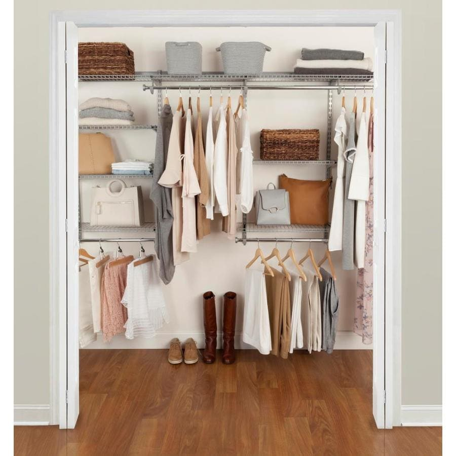 Rubbermaid Fasttrack 4 Ft To 8 Ft X 12 In Satin Nickel Wire Closet Kit In The Wire Closet Systems Department At Lowes Com