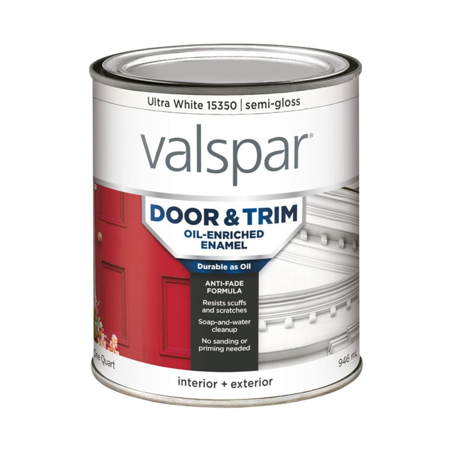 Valspar Door And Trim Ultra White Semi Gloss Oil Based Enamel Interior Exterior Paint Actual Net Contents 32 Fl Oz
