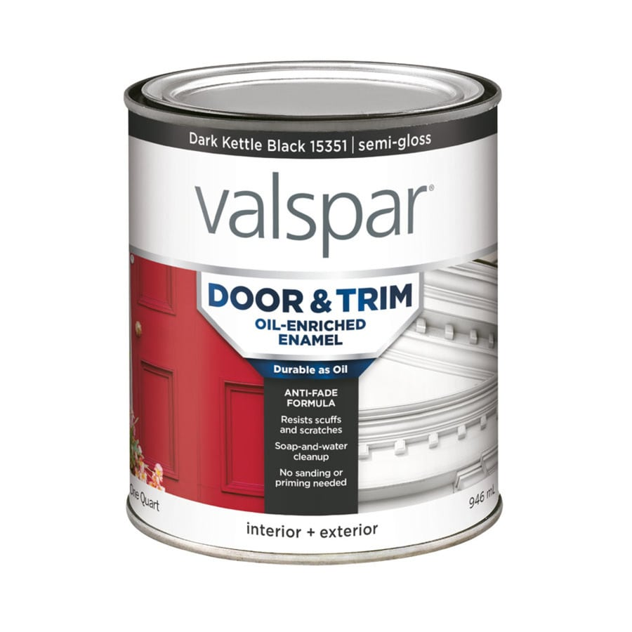 Shop Valspar Door And Trim Dark Kettle Black Semi Gloss Oil Based Enamel Interior Exterior Paint