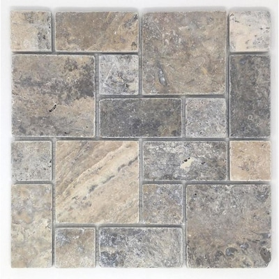 Silver 12 In X Versailles Mosaic Travertine Dimensional Wall Tile Common Actual