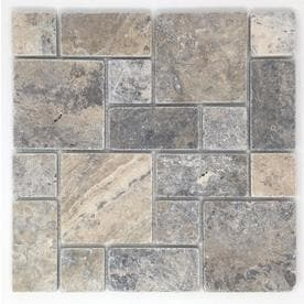 Avenzo Silver 12 In X Versailles Mosaic Travertine Dimensional Wall Tile