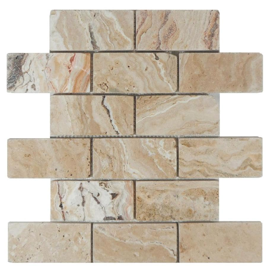 Shop Allen Roth Ar Beige Brick Mosaic Travertine Subway Floor And