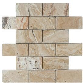 Allen Roth A R Beige Brick Mosaic Travertine Floor And Wall Tile Common