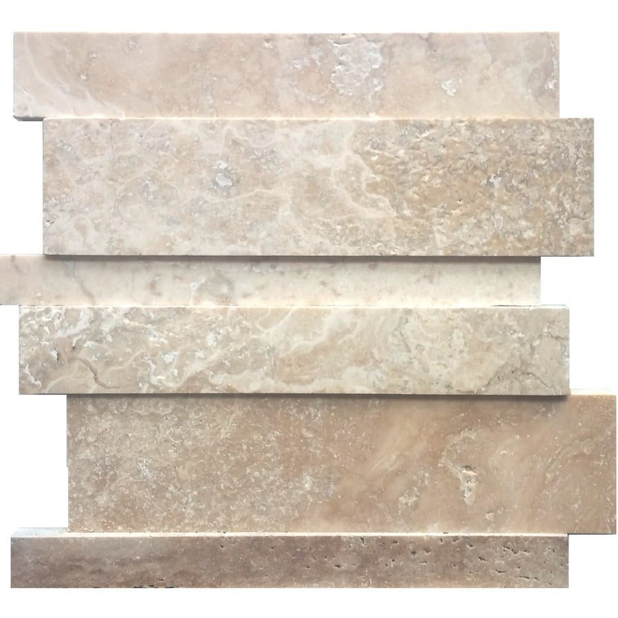 Shop Avenzo Beige Linear Mosaic Travertine Wall Tile
