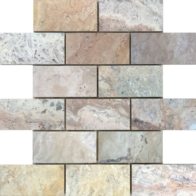 Earth Brushed Mosaic Travertine Subway Dimensional Floor And Wall Tile Actual 10 In X 12