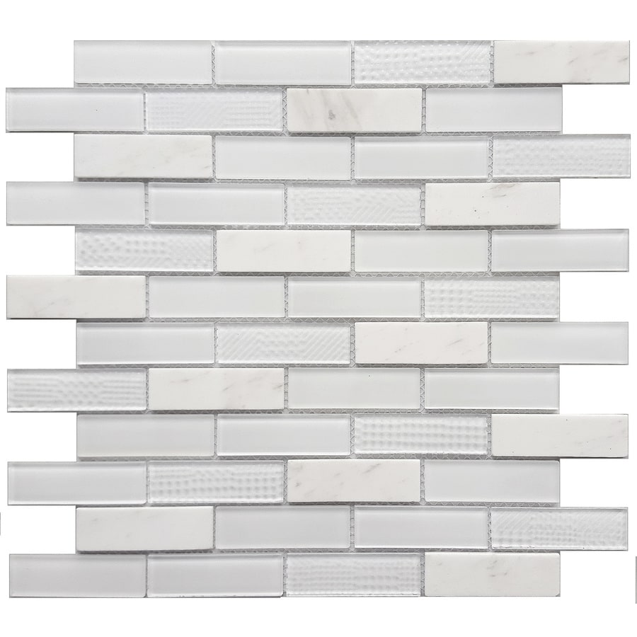 Brick Tile Flooring At Lowe S : Shop avenzo multi texture brick mosaic stone and glass
