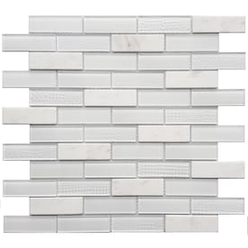 Avenzo Multi Texture 12-in x 12-in Stone And Glass Brick Marble Mosaic Subway Dimensional Wall Tile (Common: 12-in x 12-in; Actual: 11.42-in x 11.42-in)
