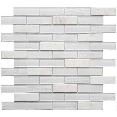 Multi Texture 12 In X Stone And Gl Brick Marble Mosaic Subway Dimensional Wall Tile Common Actual 11 42