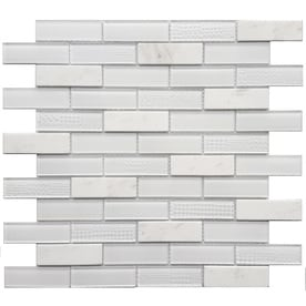 Avenzo Multi Texture 12 In X 12 In Stone And Glass Brick