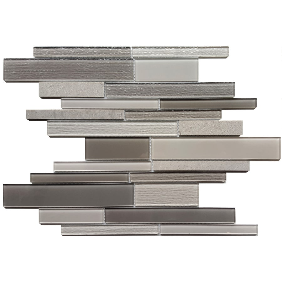 Avenzo Multi-Texture Linear Mosaic Stone And Glass Marble Wall Tile (Common: 12-in x 12-in; Actual: 11.25-in x 11.72-in)