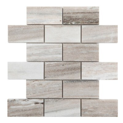 Polished 10 In X 12 Brick Marble Mosaic Subway Dimensional Wall Tile Common Actual