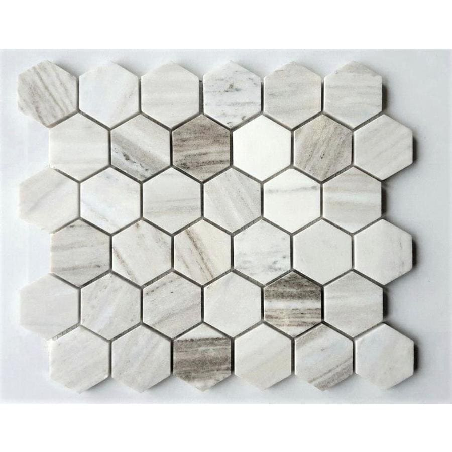 Shop Avenzo White Hexagon Marble Mosaic Floor And Wall Tile Common