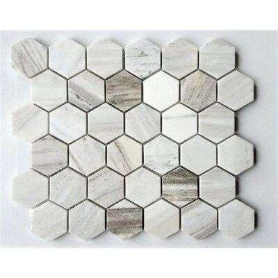 White 12 In X Hexagon Marble Mosaic Dimensional Floor And Wall Tile Common Actual 10 25 11 75