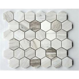 Avenzo White 12-in x 12-in Hexagon Marble Mosaic Dimensional Floor and Wall Tile (Common: 12-in x 12-in; Actual: 10.25-in x 11.75-in)