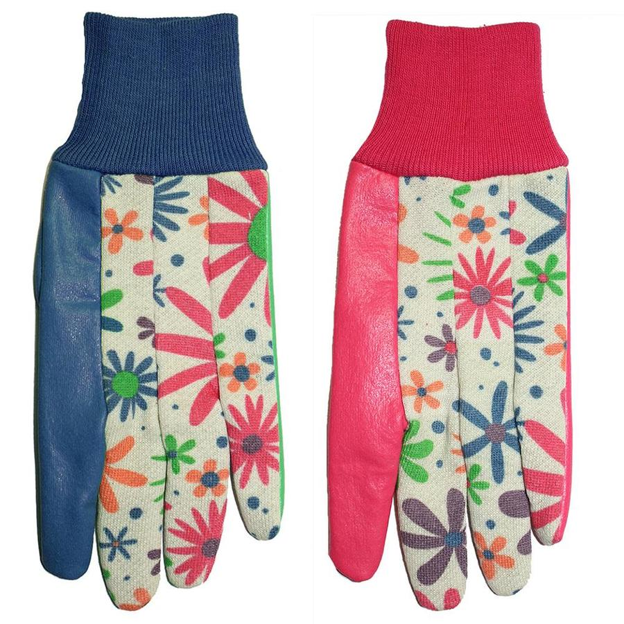MidWest Quality Gloves, Inc. Women's One Size Fits All Blue or Pink/Latex Coated Poly/Cotton Garden Gloves
